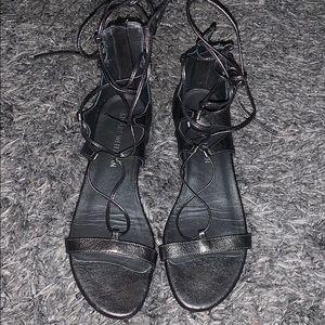 Stuart Weizmann pewter tieup gladiator flat sandal
